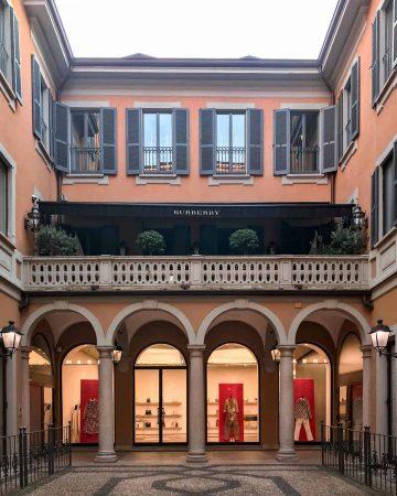 Instagrammable shop front on Via Monte Napoleone in Quadrilateral della Moda (fashion district) Milan
