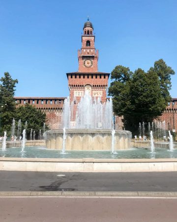 Fountain in front of Sforza Castle (Castello Sforzesco) Milan - a top attraction during 2 days in Milan