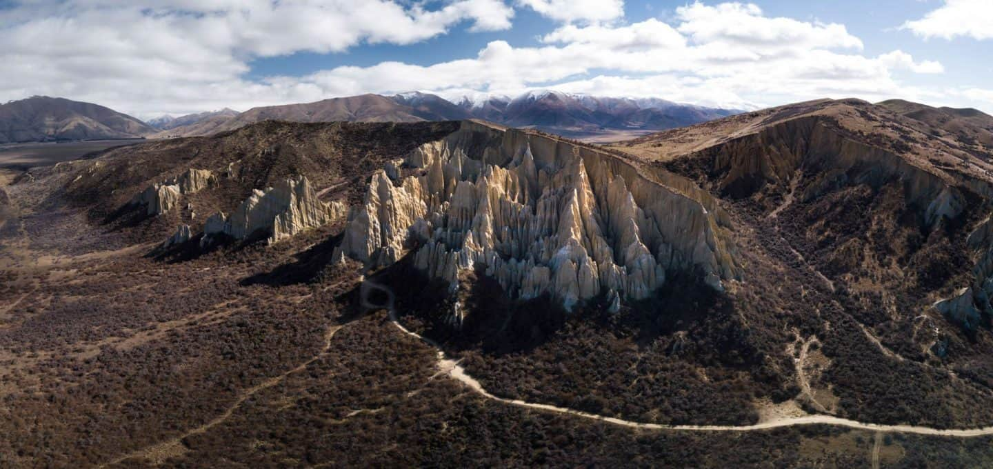 A panoramic photo of the Clay Cliffs of Mackenzie.