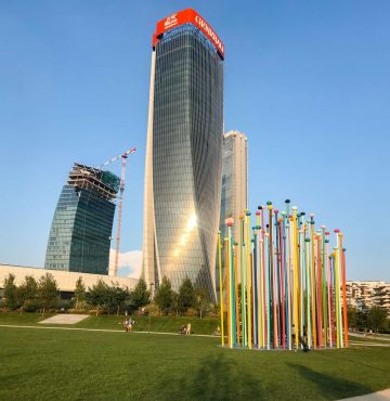 Coloris sculpture against a backdrop of skyscrapers at City Life Milan Italy at-City-Life-Milan-Italy