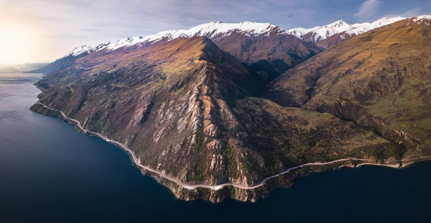 An aerial view of Devil's Staircase road, which takes you from Queenstown to Milford Sound.