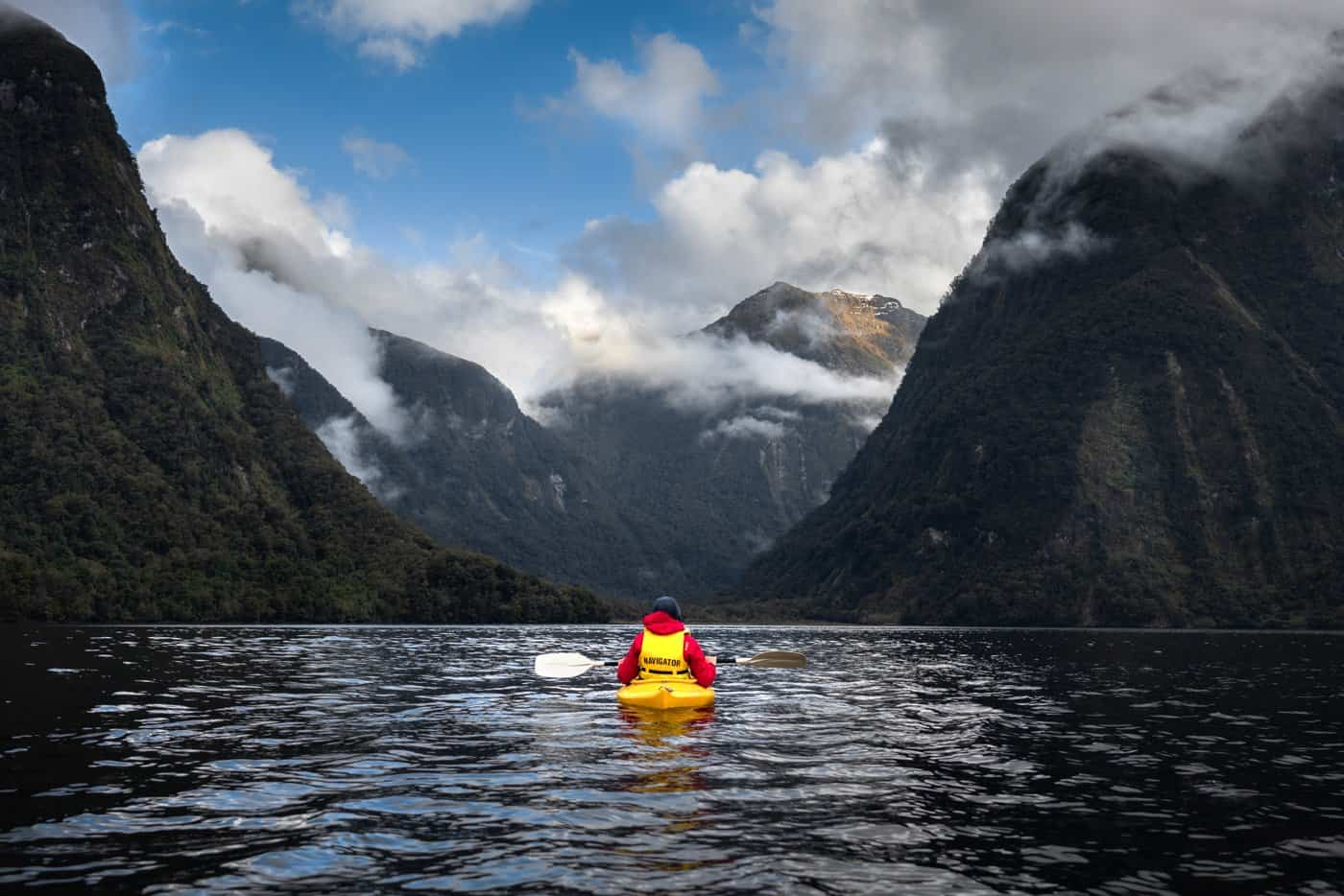 Kayaking the Doubtful Sound was a highlight of our overnight cruise.