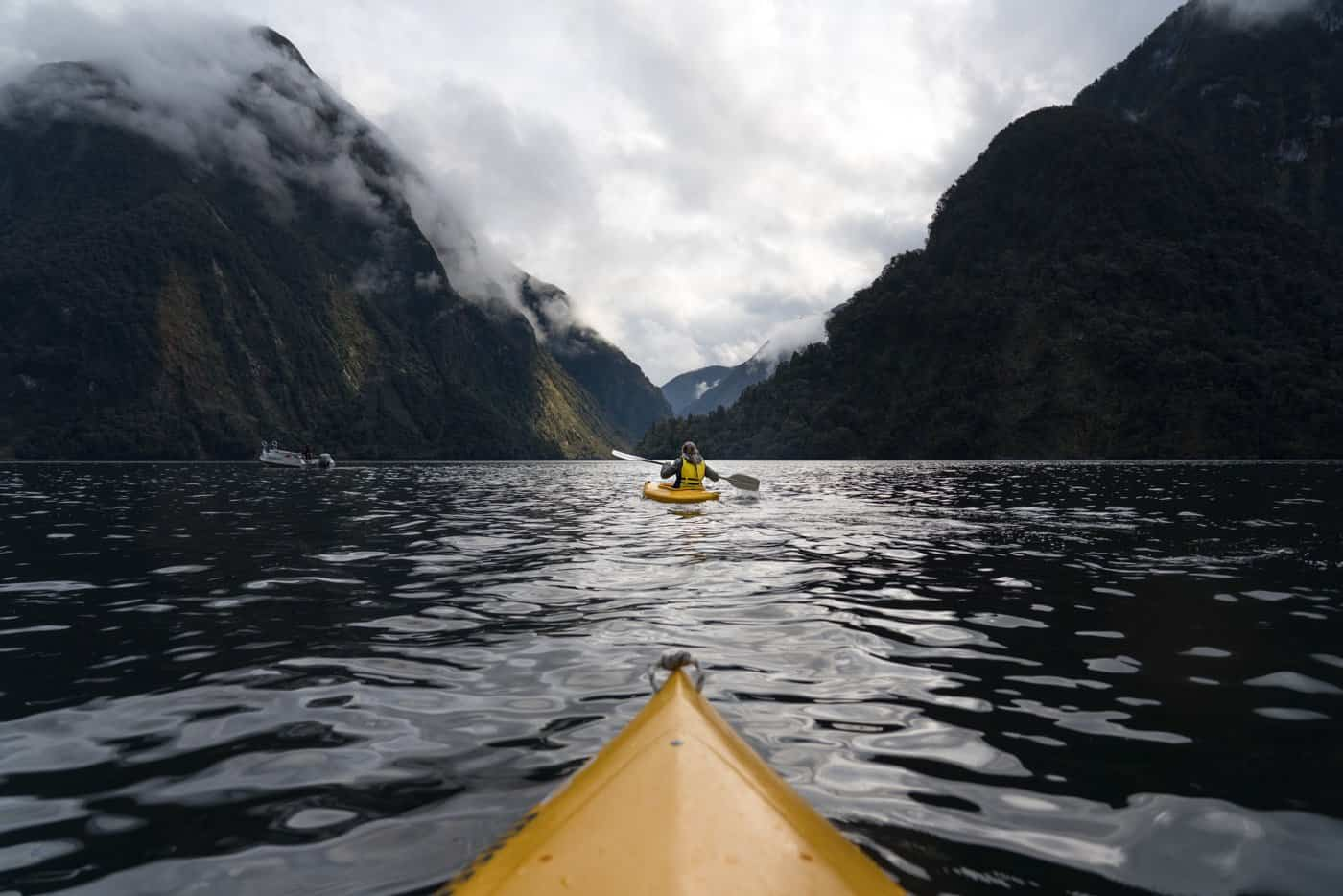 Action-packed shots of a beautiful day kayaking Doubtful Sound.
