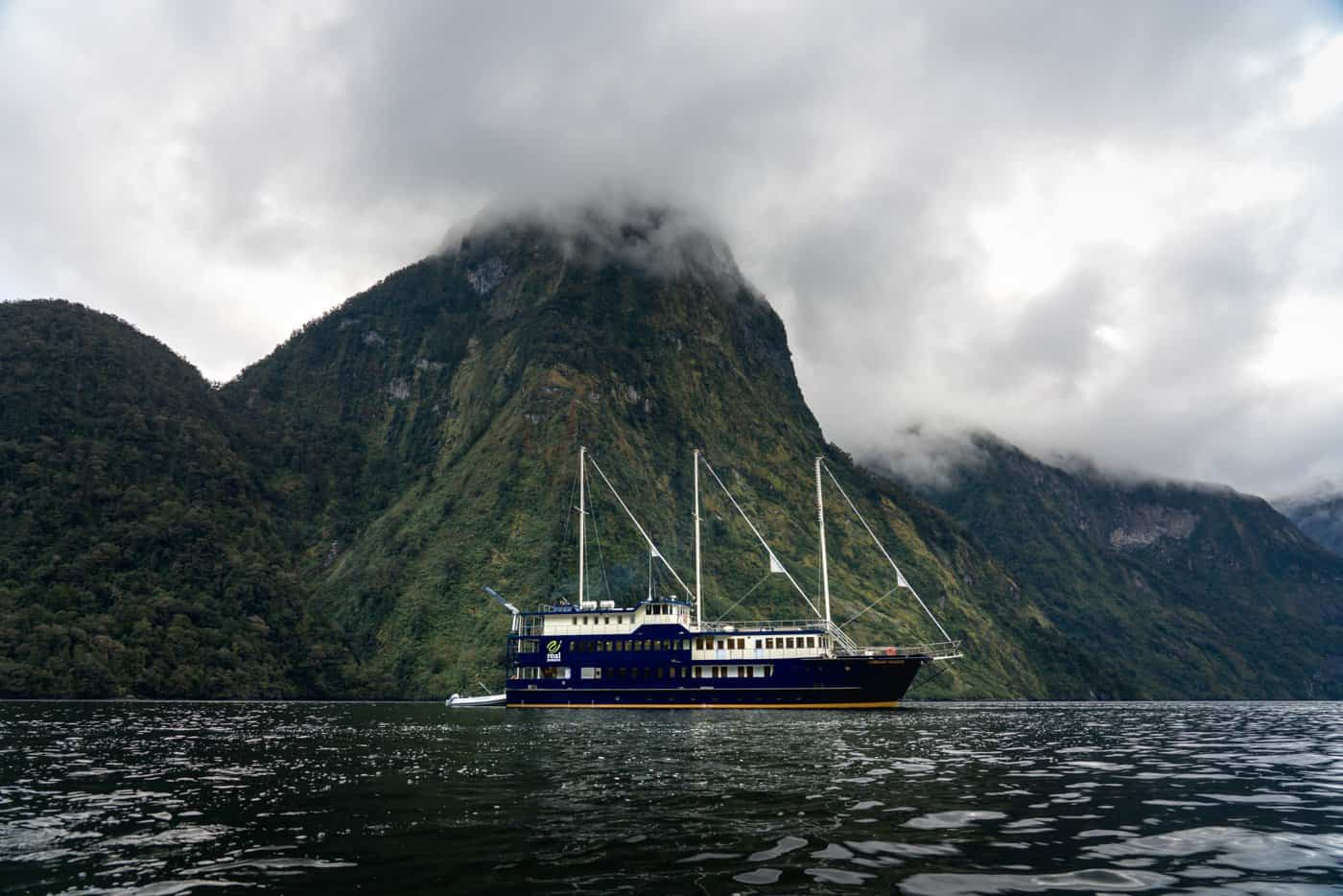 Real Journey's Fjordland Navigator is a stunning and well-appointed cruise ship for exploring the Doubtful Sound.