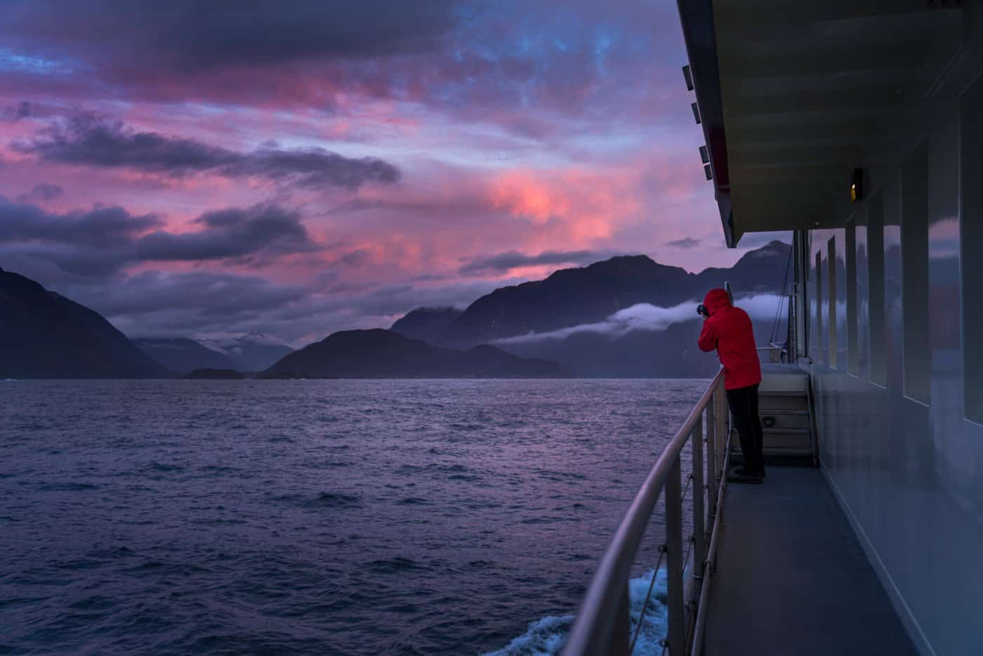 An incredible, moody sunset over the fjords of the Doubtful Sounds.