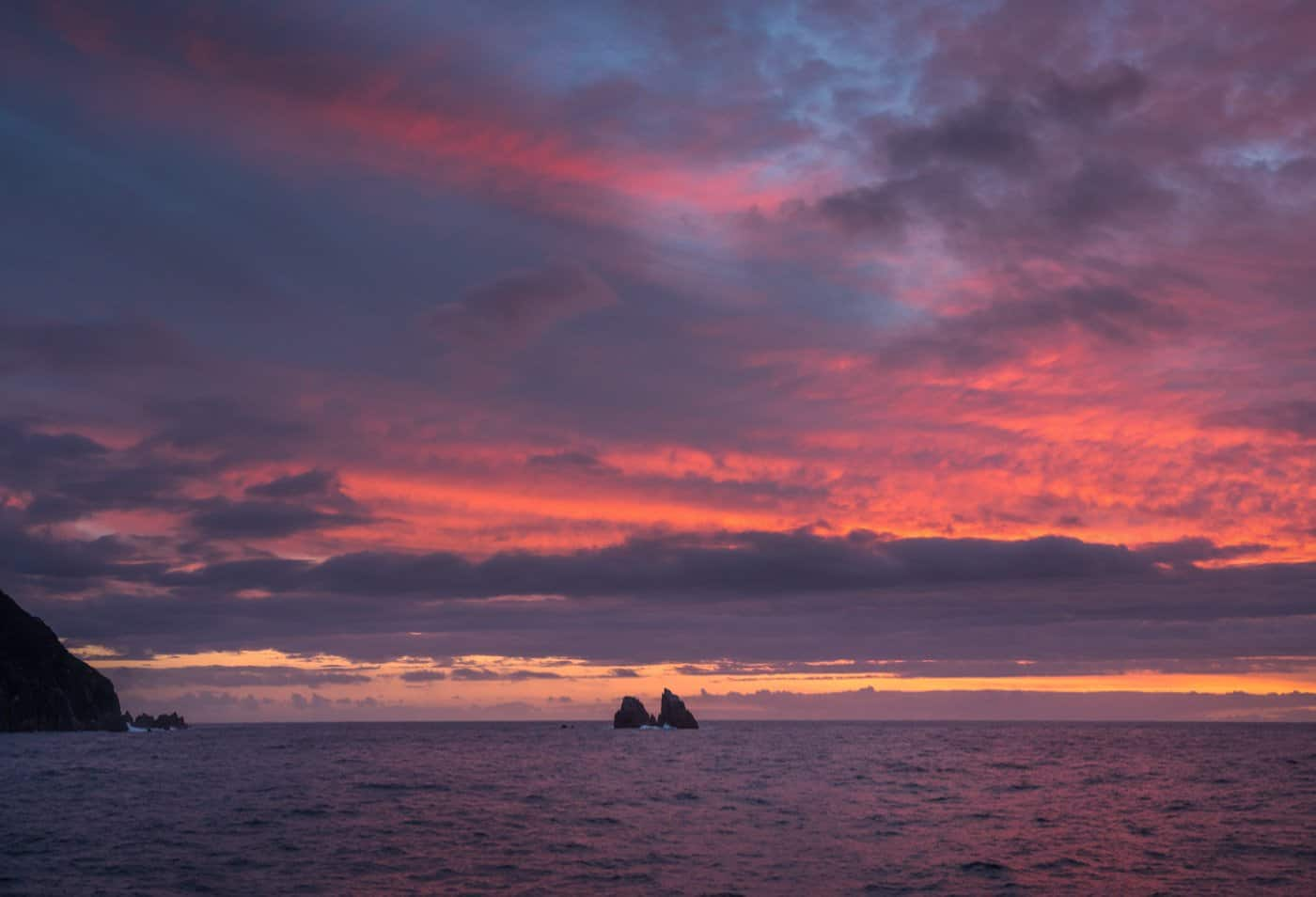 Our day of exploring the Doubtful Sound on our overnight cruise ended with an epic sunset.