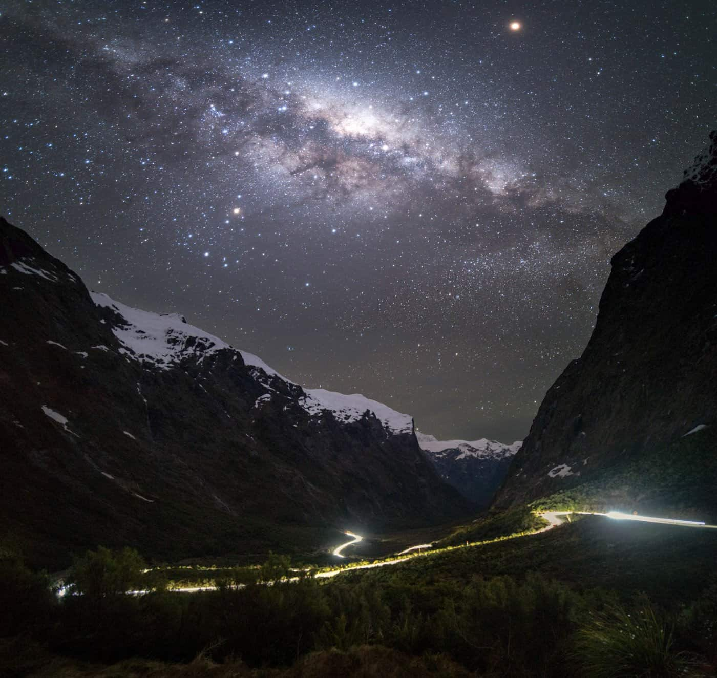 Astro and Milky Way photography on the night drive home from Milford Sound.