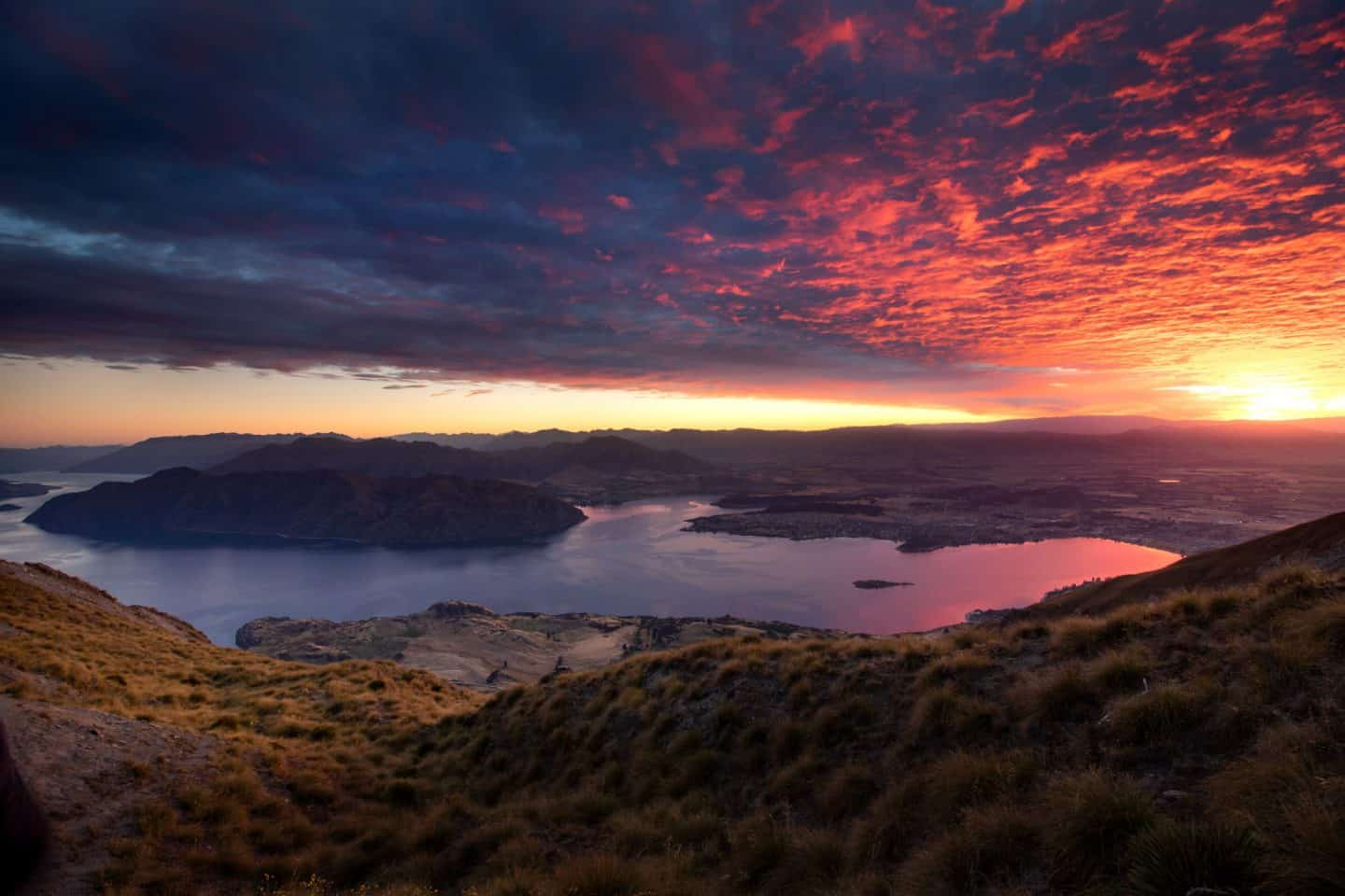 The clouds ignite with color in this Roys Peak sunrise photograph.