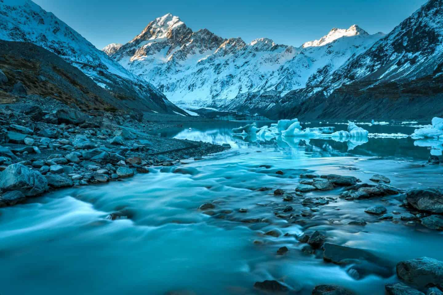 Our favorite place for New Zealand landscape photography is here at Hooker Lake in Mt Cook.