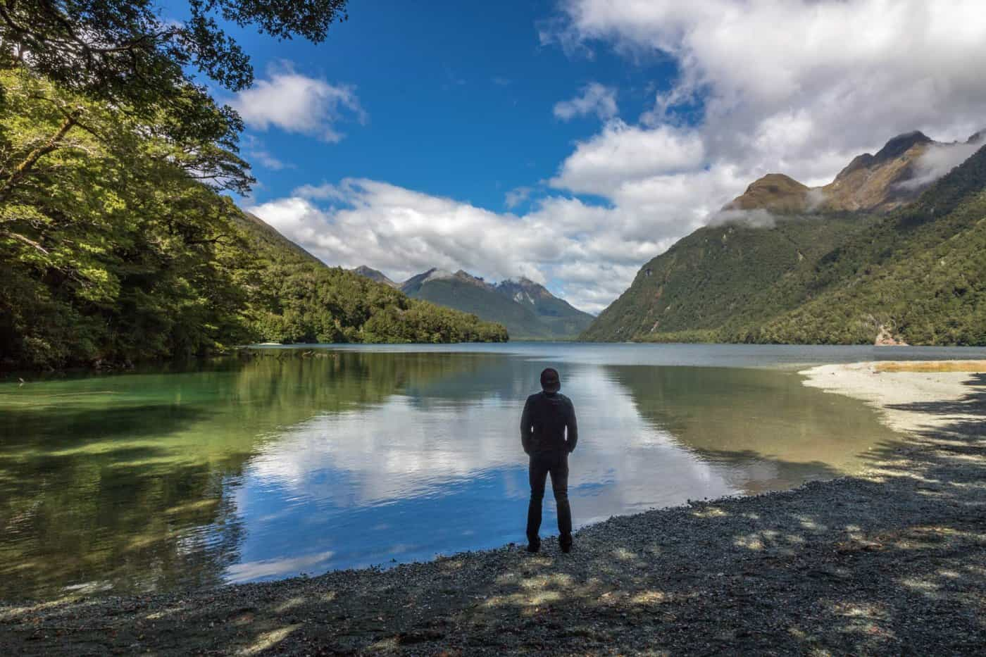 Lake Gunn is a quick, beautiful stop on the way to Milford Sound from Queenstown.