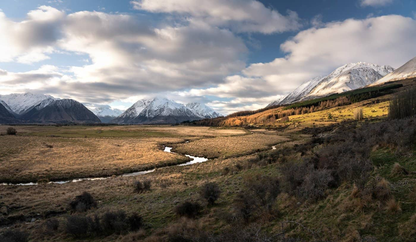 This beautiful, golden landscape was taken on an autumn day in New Zealand in May.