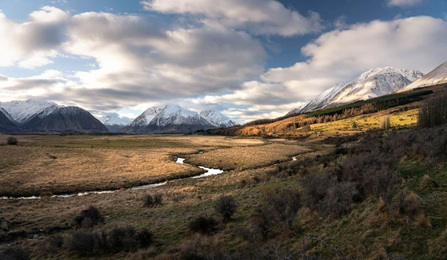 Golden hour lighting at Lake Ohau provides an amazing opportunity for NZ landscape photography.