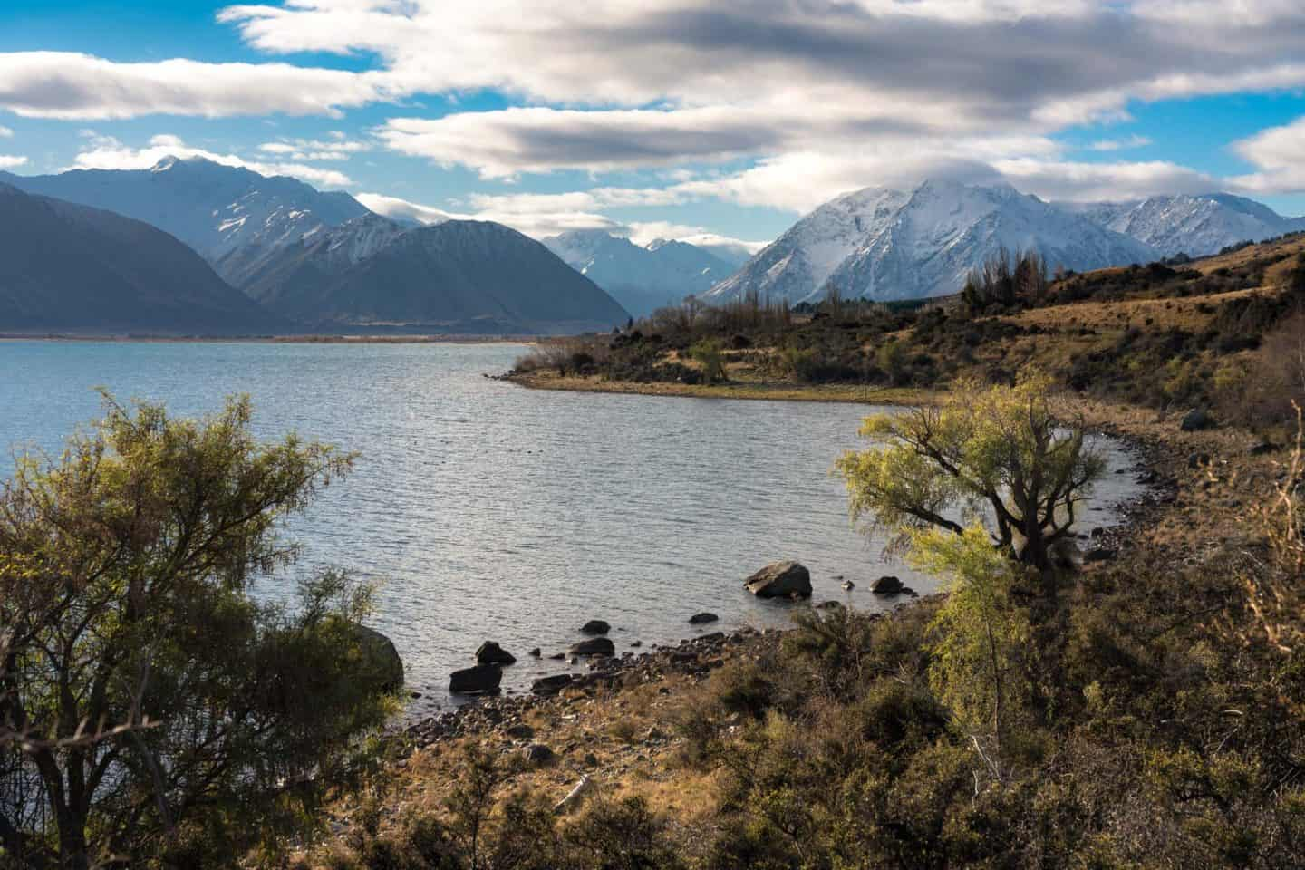 The Southern Alps at Lake Ohau provide impressive backdrops for New Zealand landscape photographers.