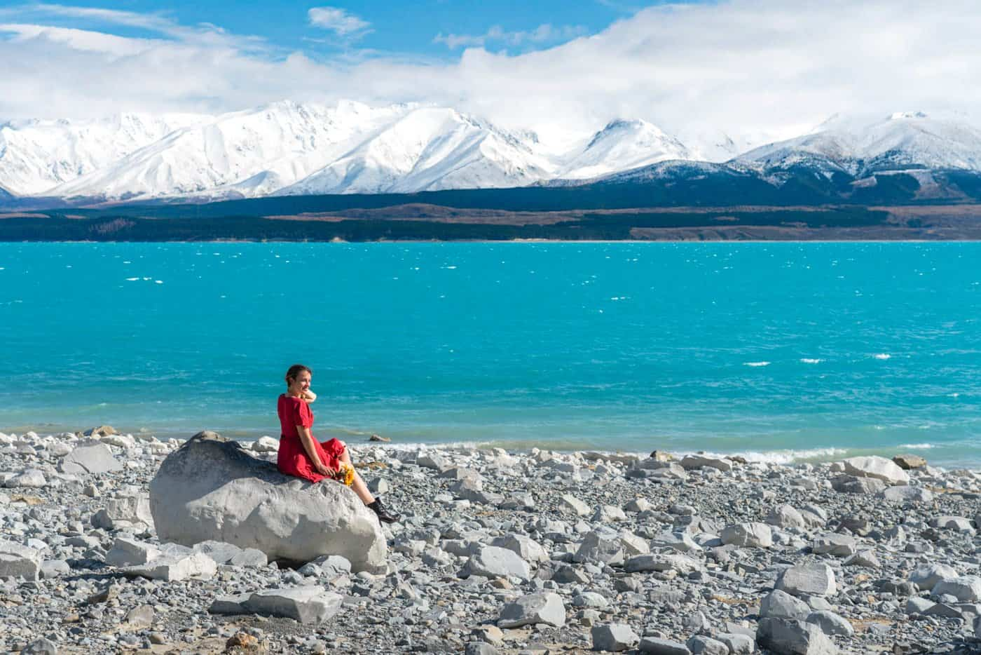 The incredibly colored Lake Pukaki lies on the doorstep of the Southern Alps.