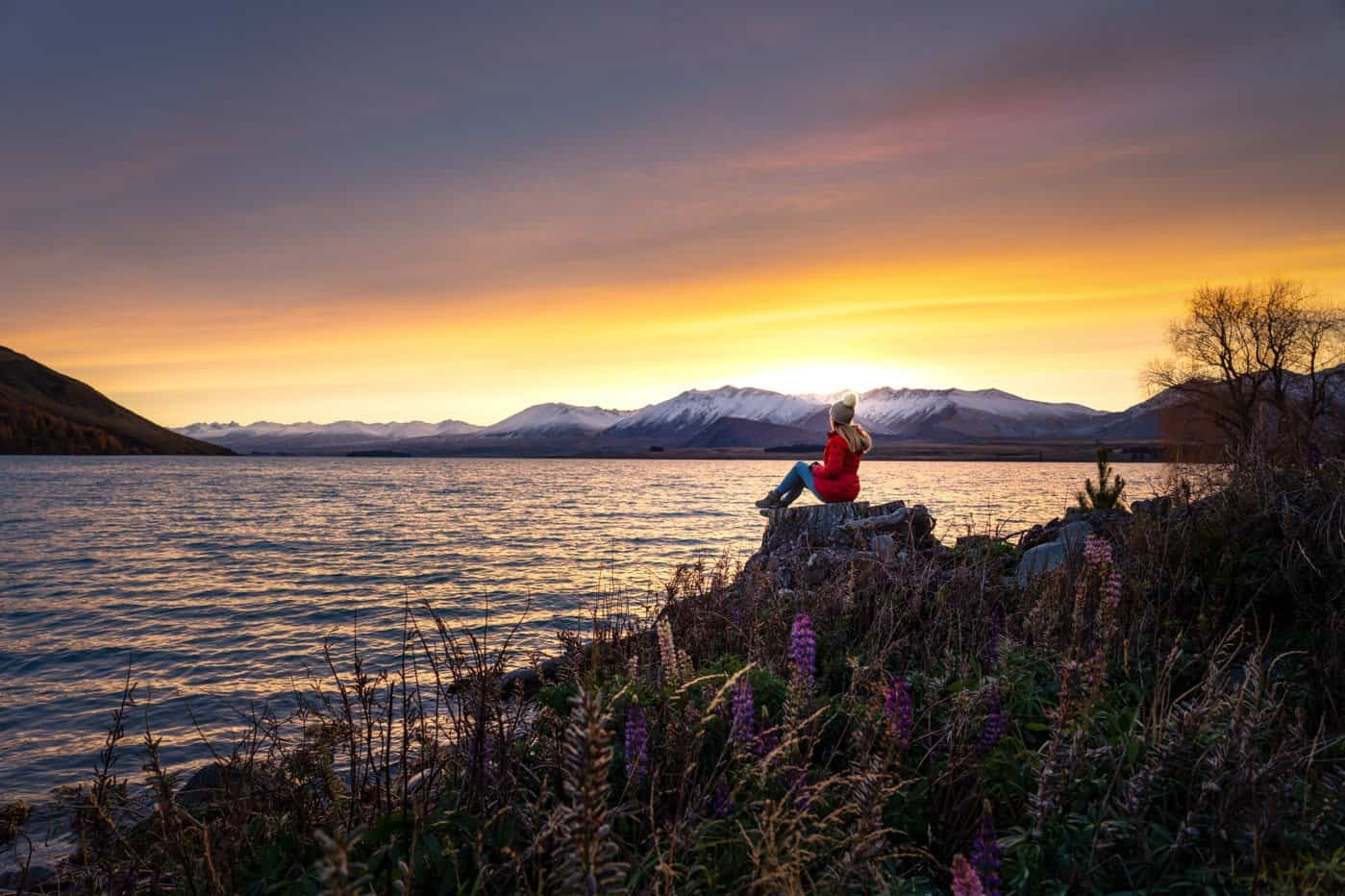 Begin the first full day of your 7 day itinerary by enjoying sunrise at Lake Tekapo.