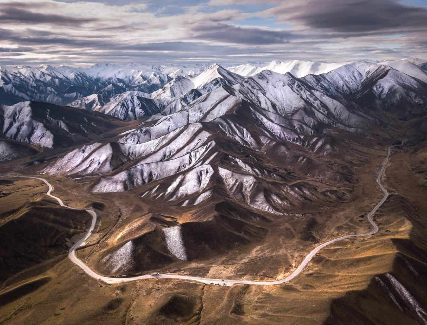An aerial perspective of Lindis Pass creates a far more compelling landscape photograph.