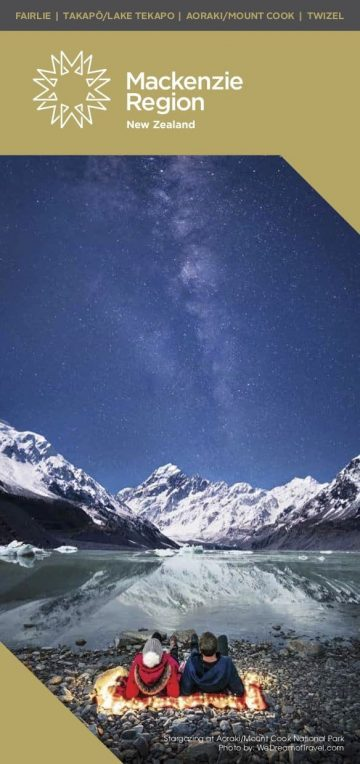 Mackenzie Region New Zealand tourism brochure featuring night sky photography at Hooker Lake by We Dream of Travel