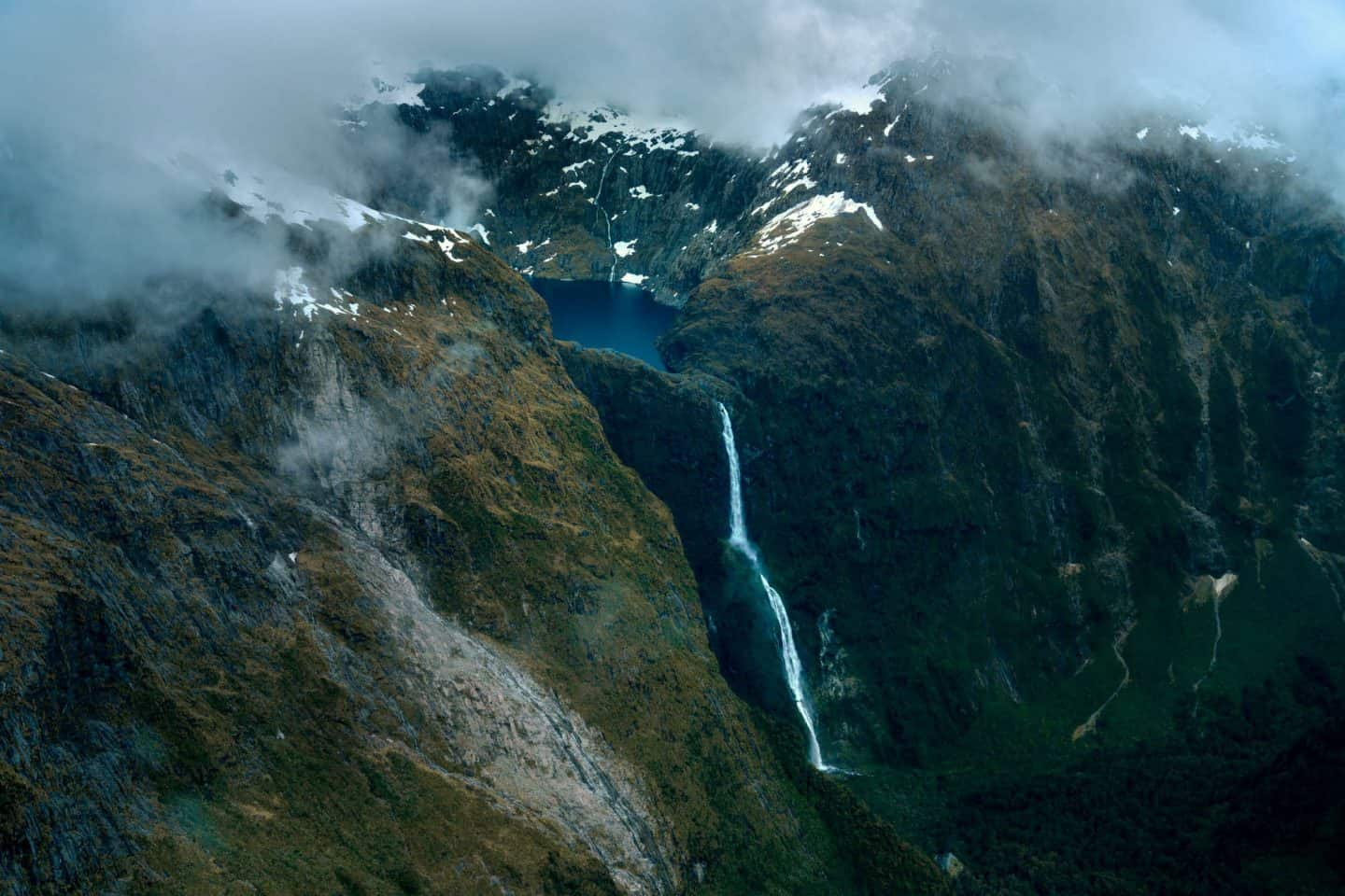 One of Milford Sound's permanent waterfalls, photographed from a plane on its way to Queenstown.