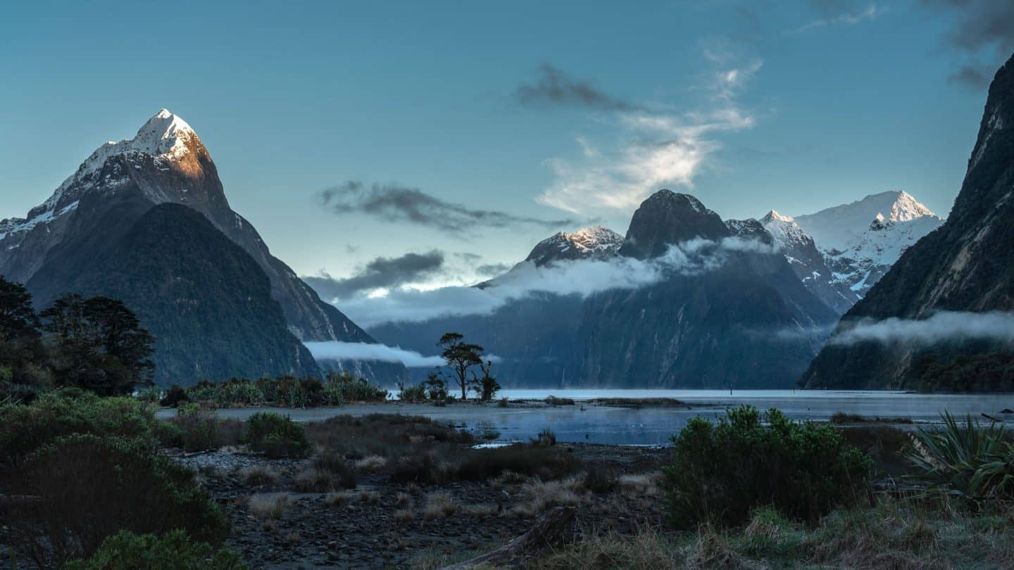 A moody morning look at Mitre Peak and the Milford Sound from the Foreshore Walk.
