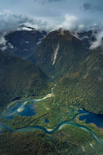 A small plane ride provides incredible views of the New Zealand landscapes at Milford Sound.