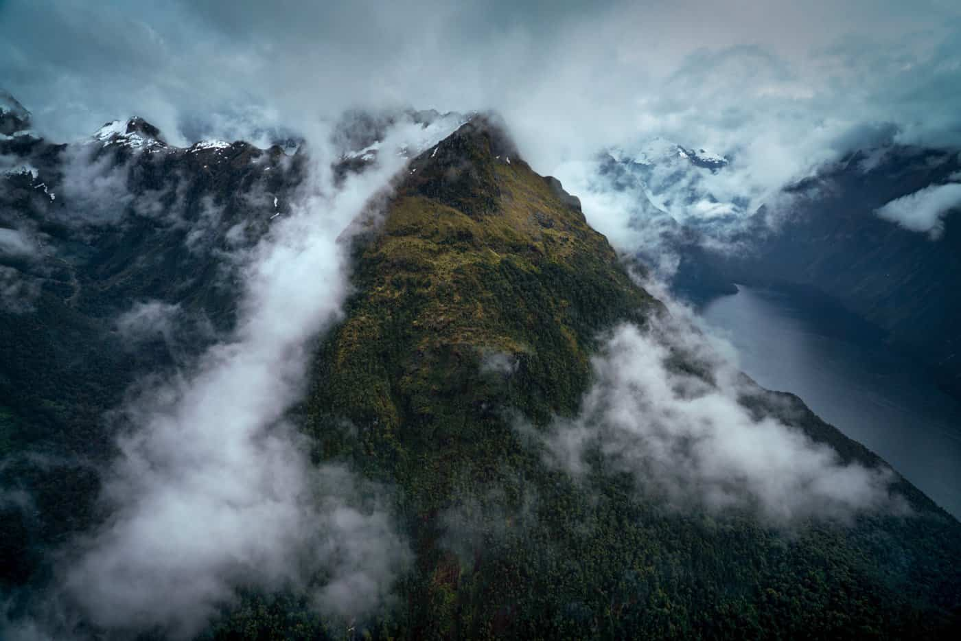 A moody landscape is captured from the sky on our flight to Milford Sound from Queenstown.