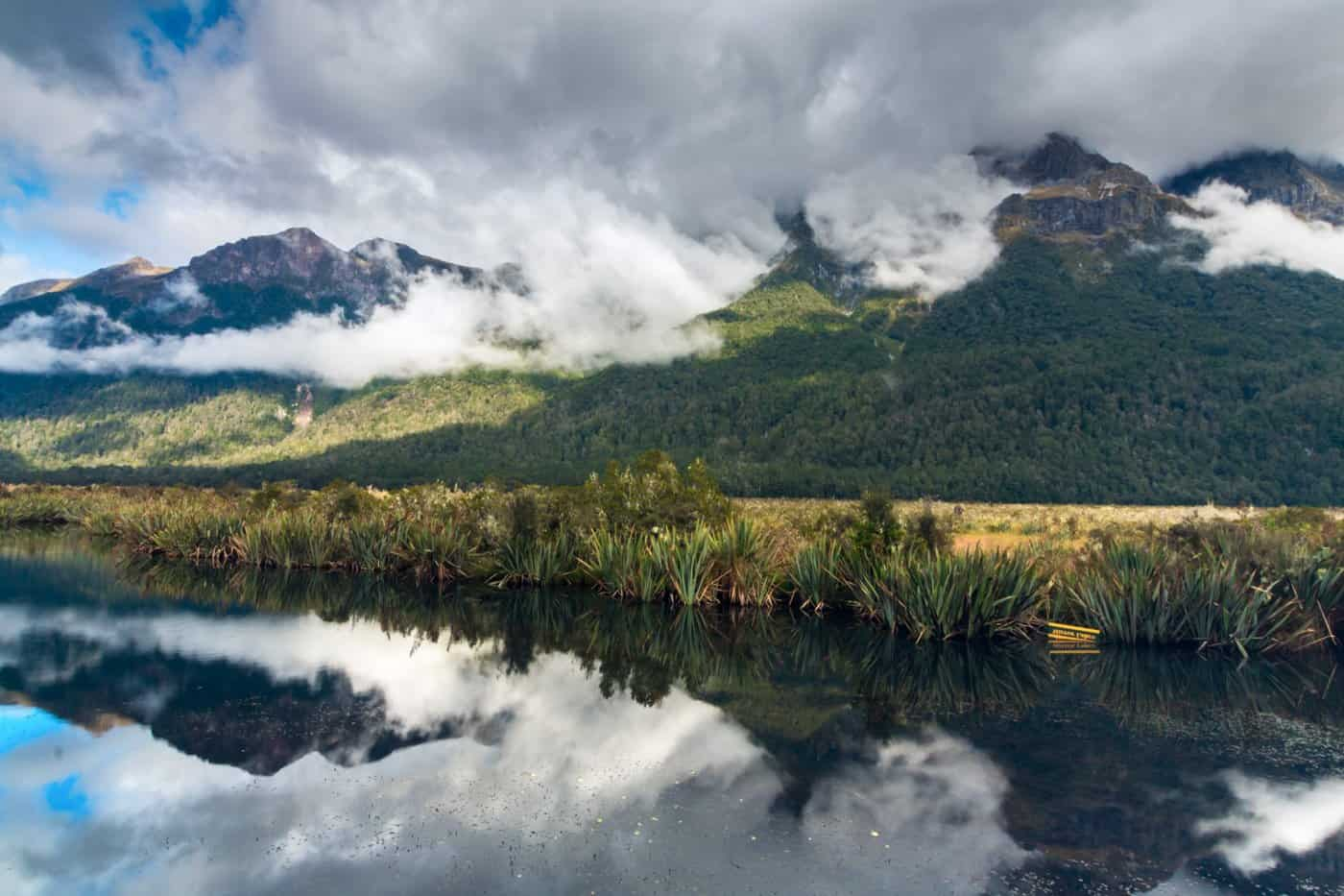 The Mirror Lakes greet you at the doorstep of Fjordland National Park.