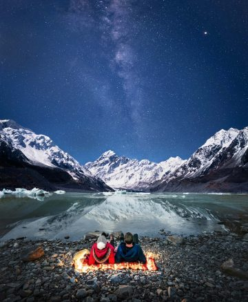 Night photography from Mt Cook, and the current 2020 visitor guide cover photo for the New Zealand Mackenzie region.