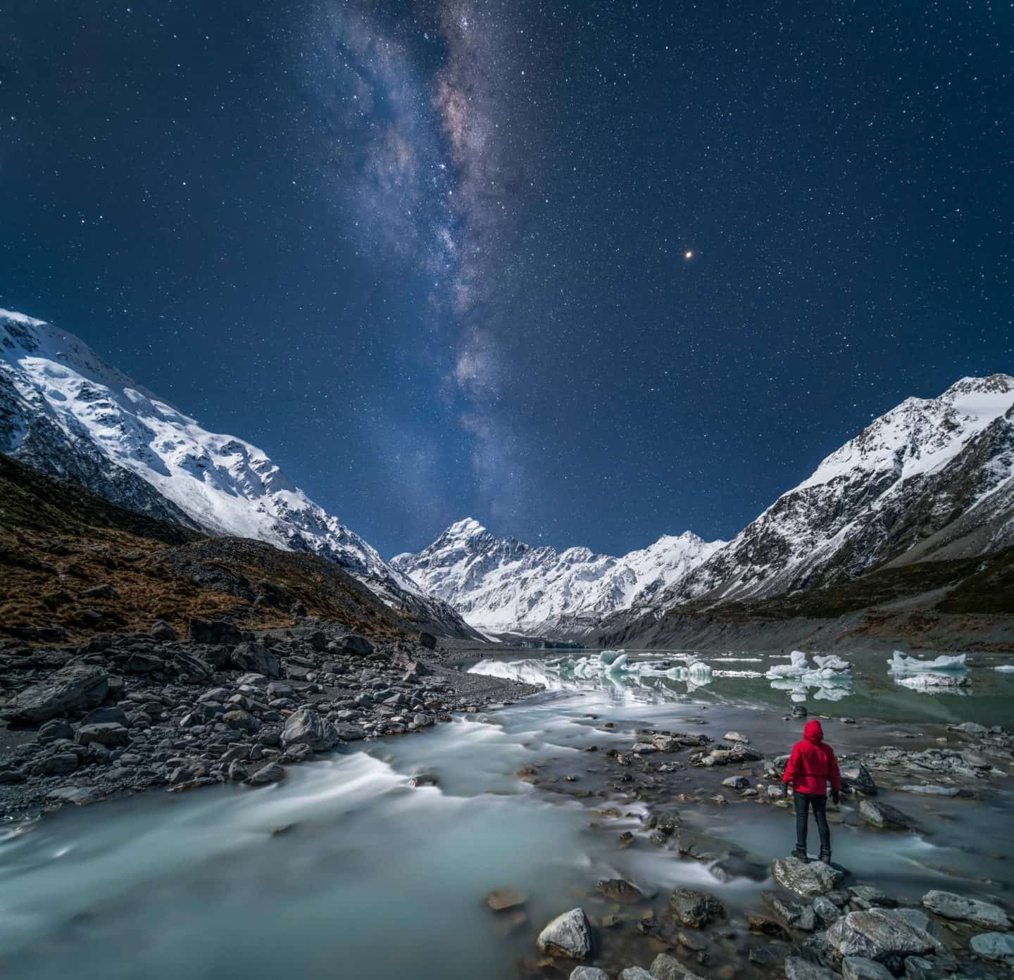 Lunar light reflects from the mountains of Mt Cook in this night photography image from Aoraki.