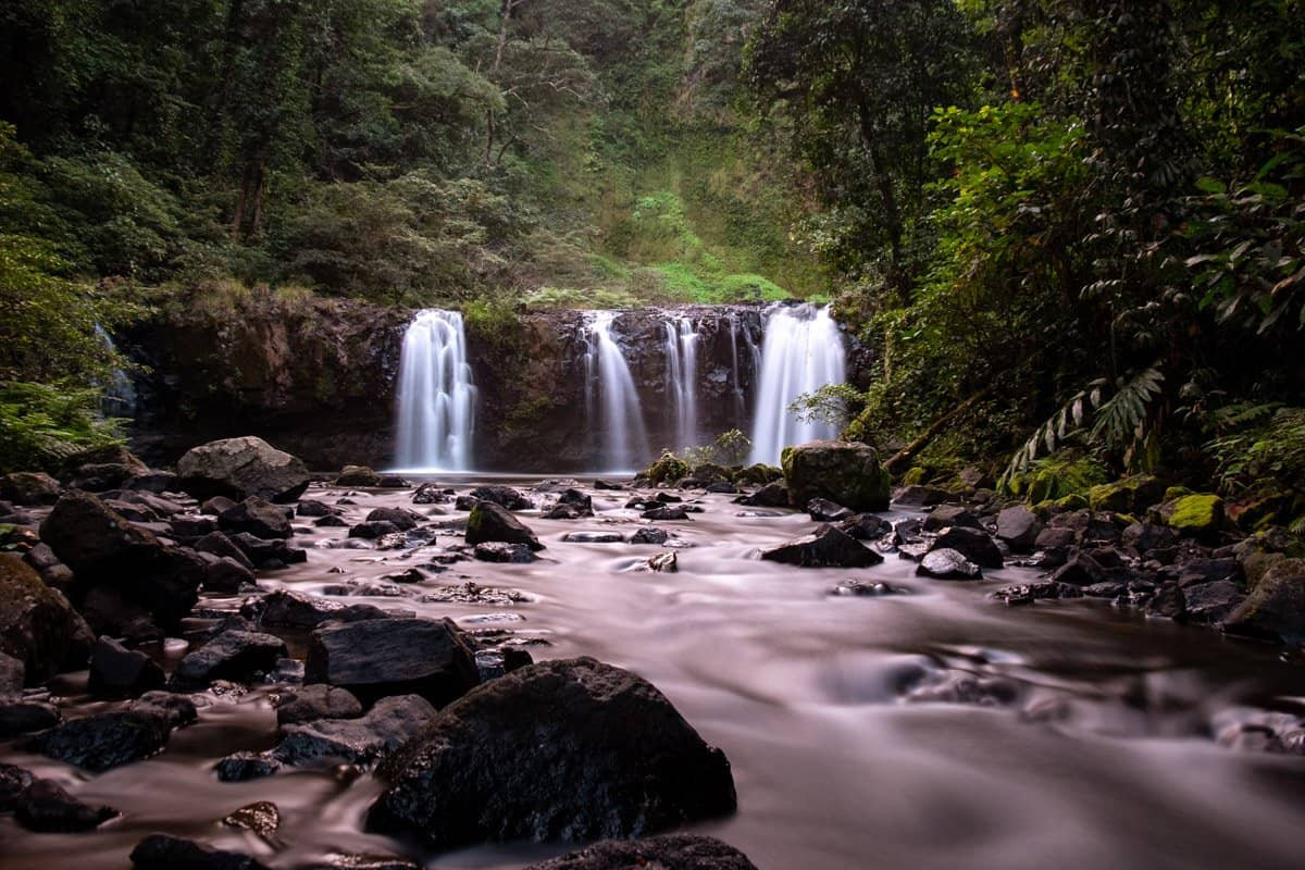 A long exposure of the lower tier of Nandroya Falls waterfall near Cairns