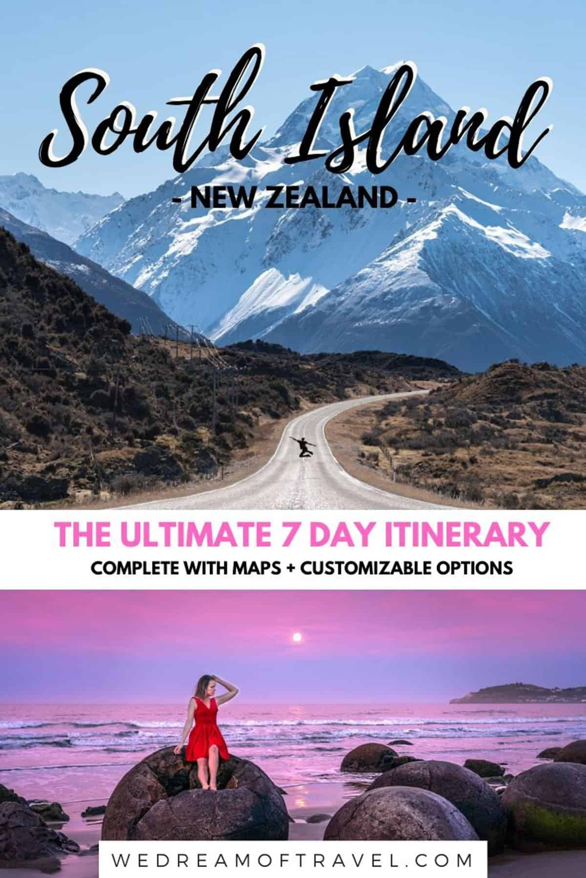 Looking to discover what to do and where to go with a week on New Zealand's South Island?  This is the ULTIMATE South Island 7 Day Itinerary. PLUS alternative options and all you need to know to help customise and plan YOUR perfect NZ South Island itinerary.  And maps of course! #newzealand #southisland #itinerary #roadtripguide