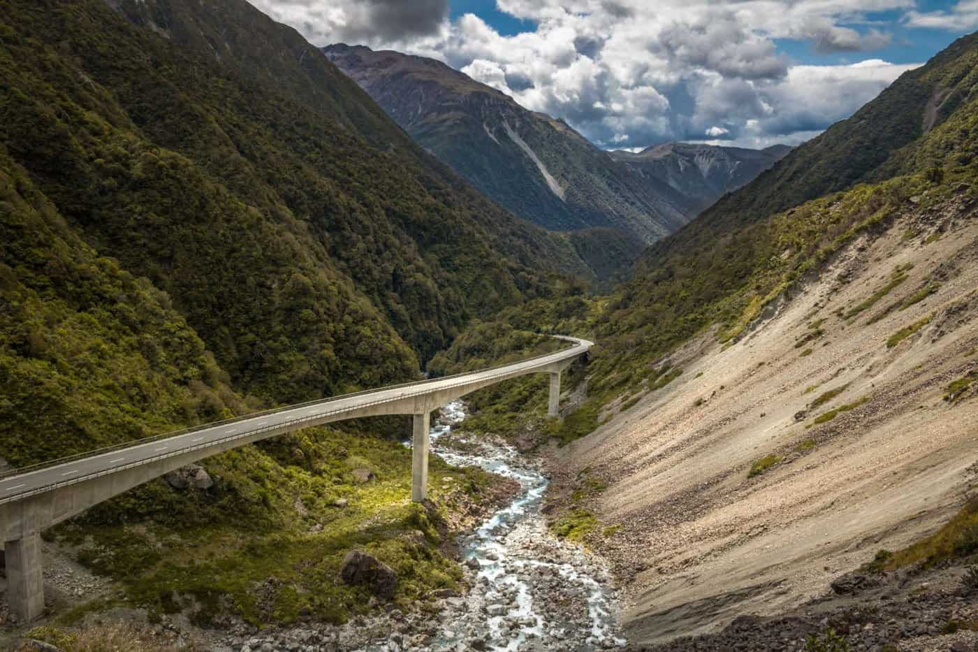 The Otira Viaduct carves its way through the mountains of Arthur's Pass NP.