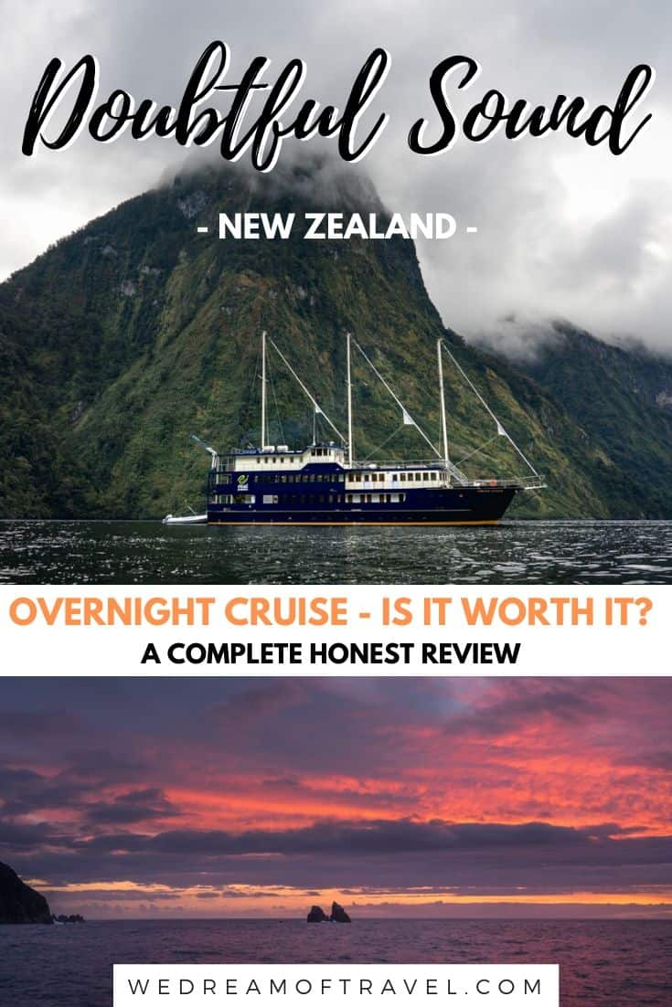 Wondering whether you should visit Doubtful Sound or Milford Sound?  Or whether you should take an overnight cruise of Doubtful Sound.  This complete, honest review will help you decide if visiting Doubtful Sound is the right choice for you.  #FiordlandNationalPark #DoubtfulSound #NewZealand