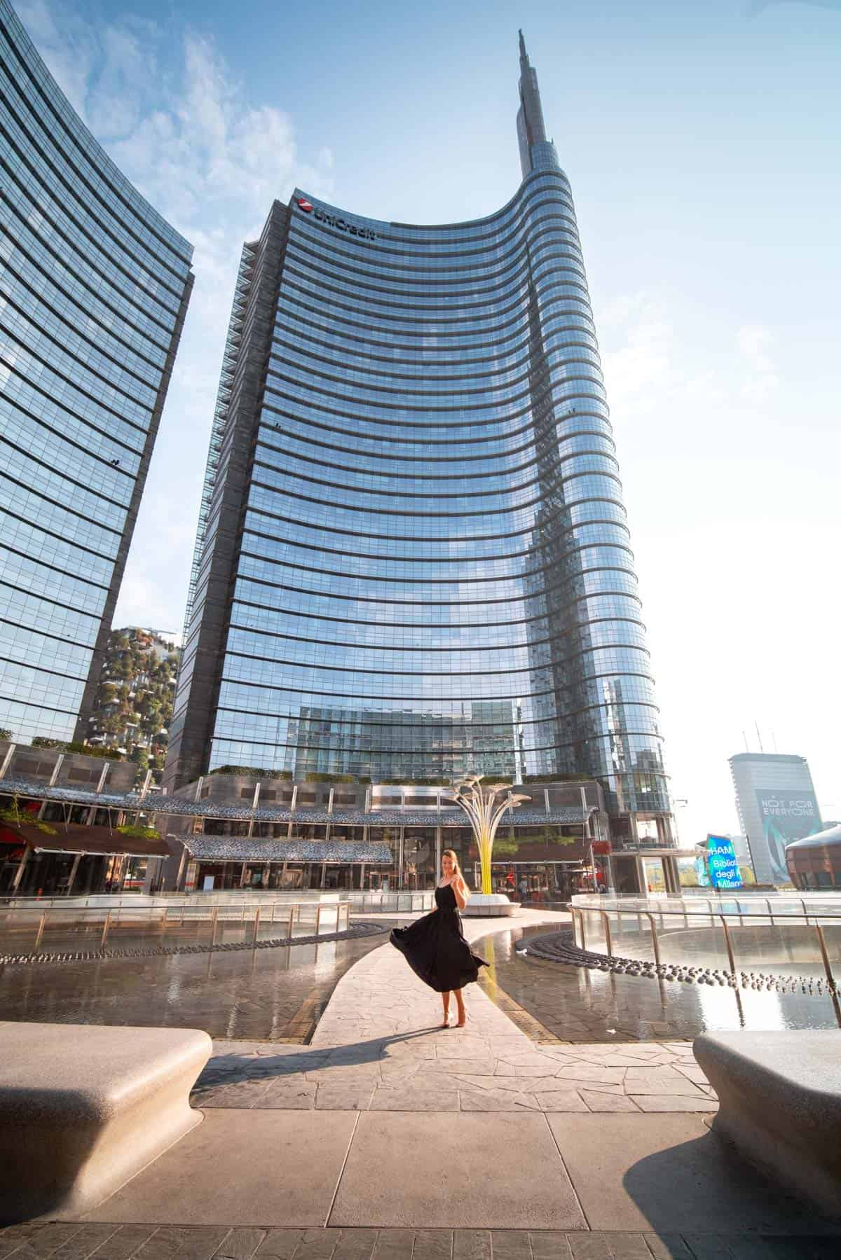 The Unicredit Tower dominates Piazza Gae Aulenti, the contemporary square in the heart of Porta Nuova, Milan, Italy