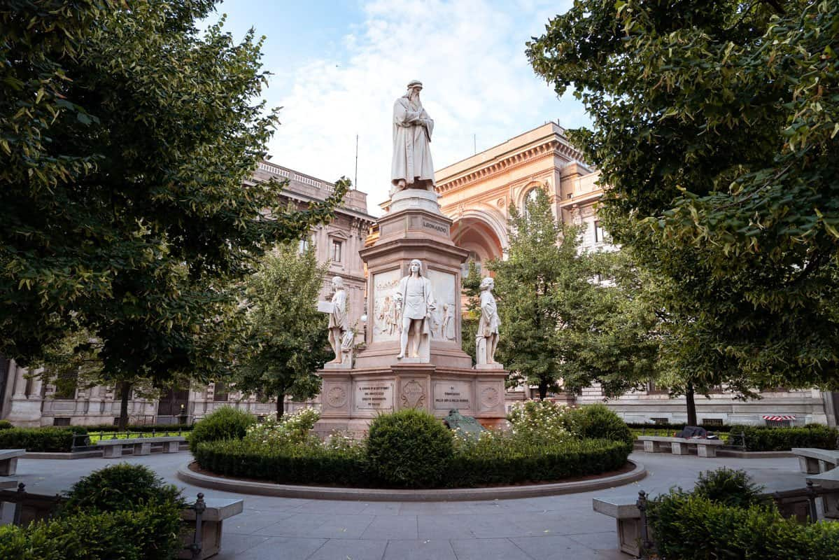A visit to the statue of Leonardo da Vinci in the centre of Piazza della Scalla should be included on every 2 days in Milan itinerary.