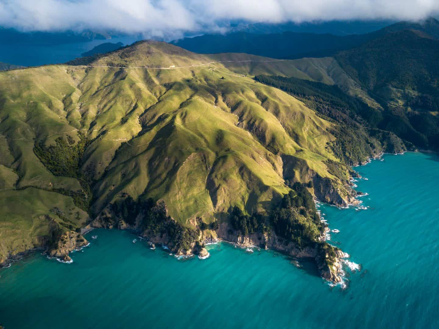 Drone photography from high above Queen Charlotte in the Marlborough Sounds