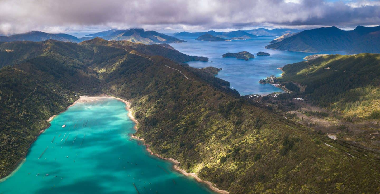Drone photography of the changing tones in the waters of the Queen Charlotte Sound.