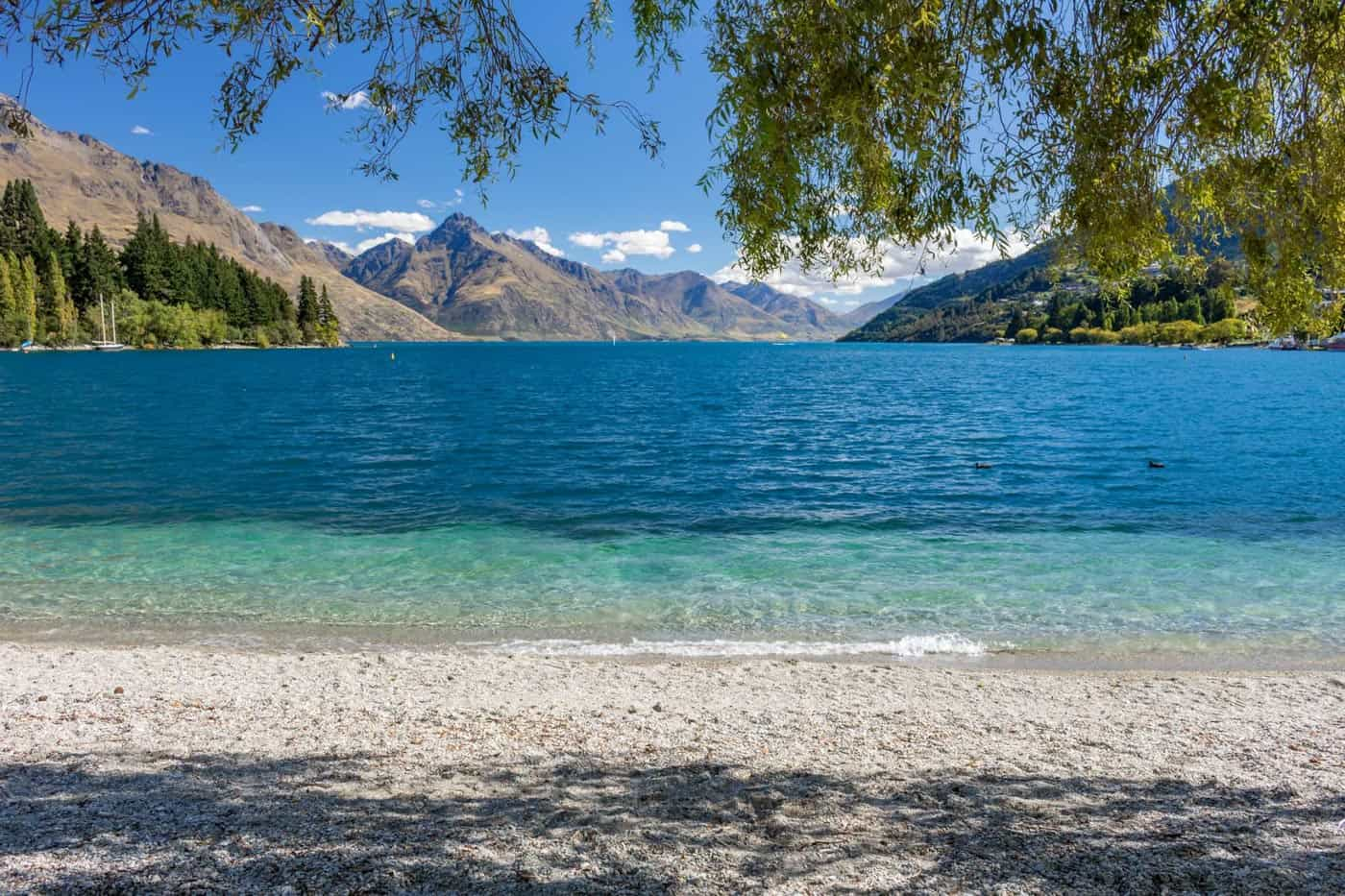 The Queenstown Bay Beach is a great place to start or end your day.