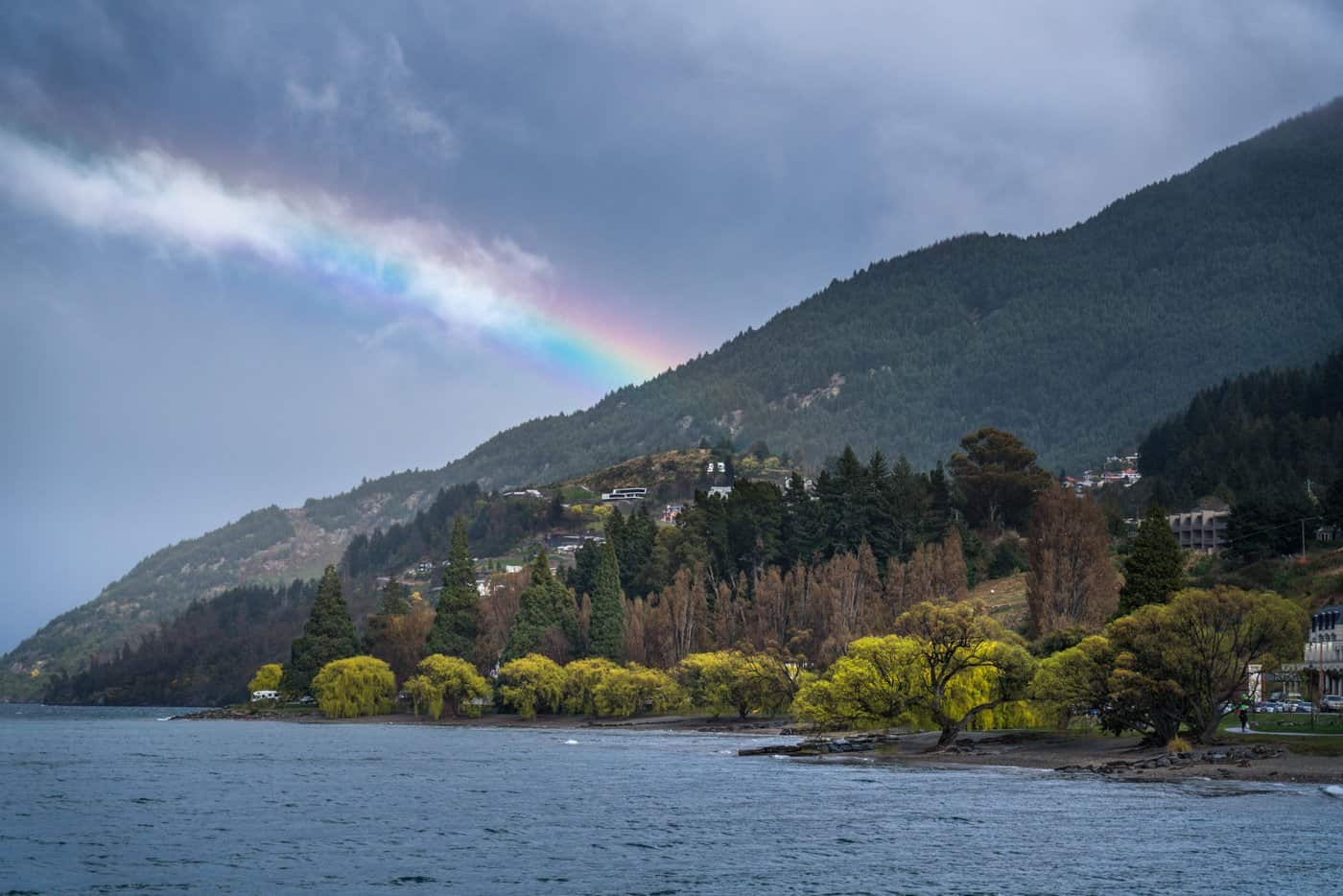A rainbow on the road ahead to Queenstown.