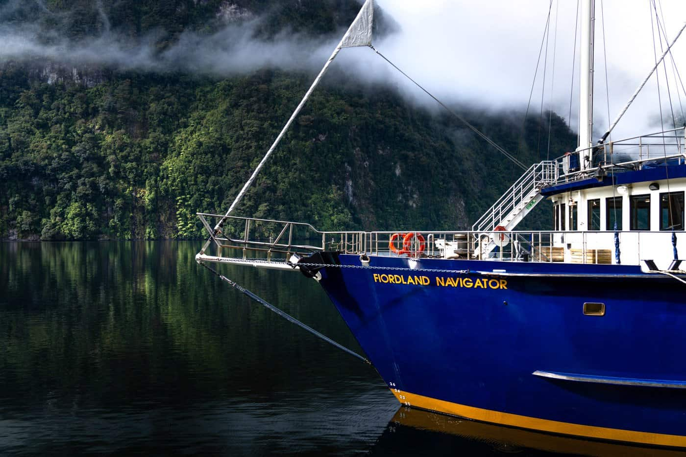 We boarded the beautiful Fjordland Navigator for our Doubtful Sounds overnight cruise.