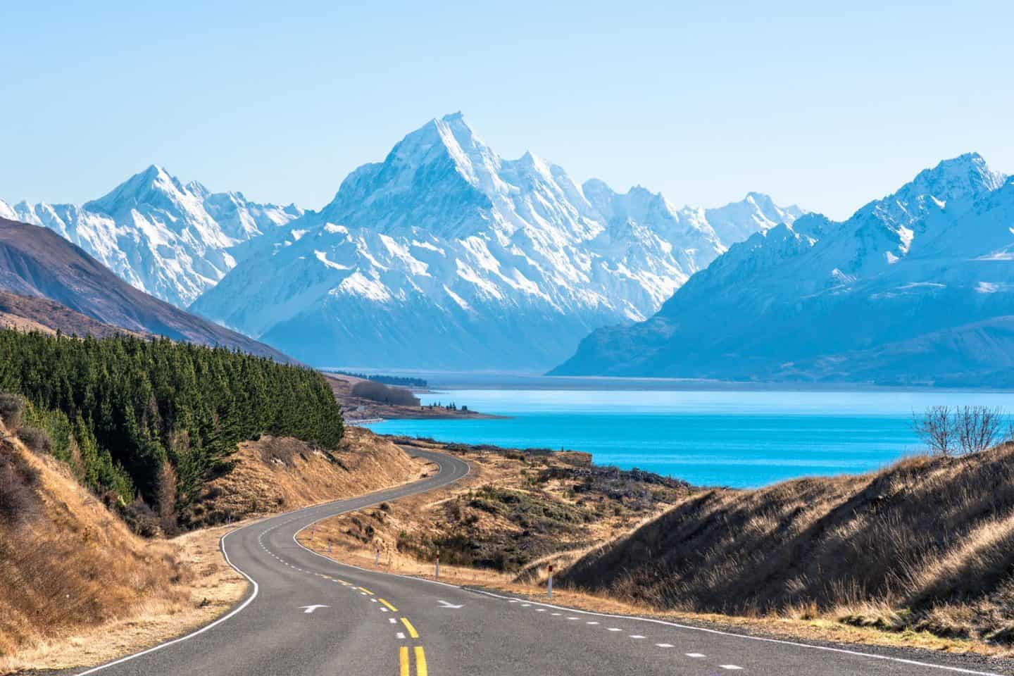 NZ landscape photography capturing the road to Mt Cook and Aoraki National Park.