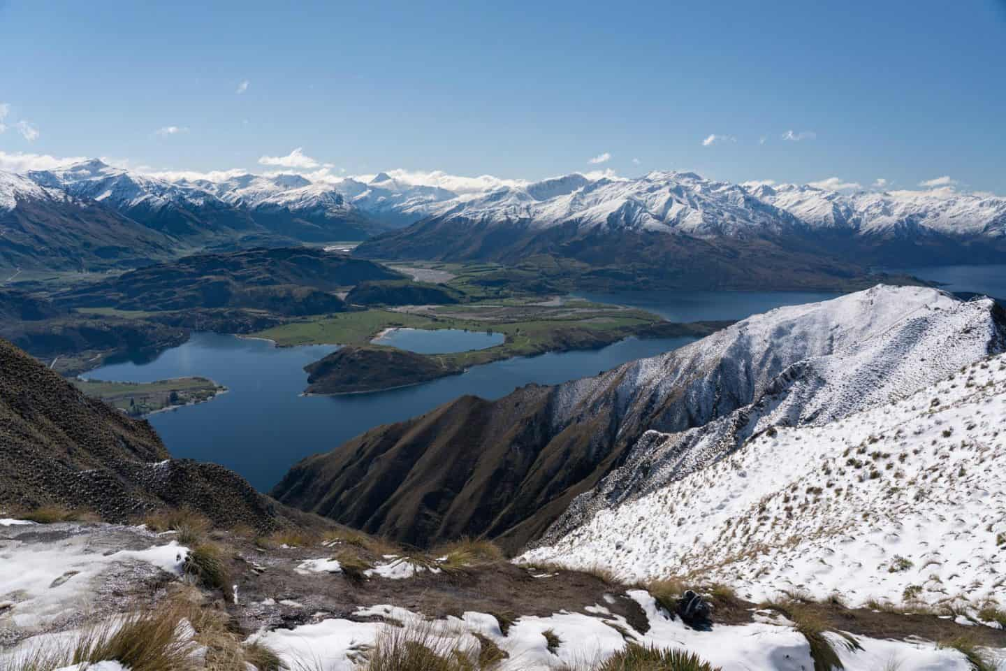 Landscape photography from a snowy Roys Peak track.