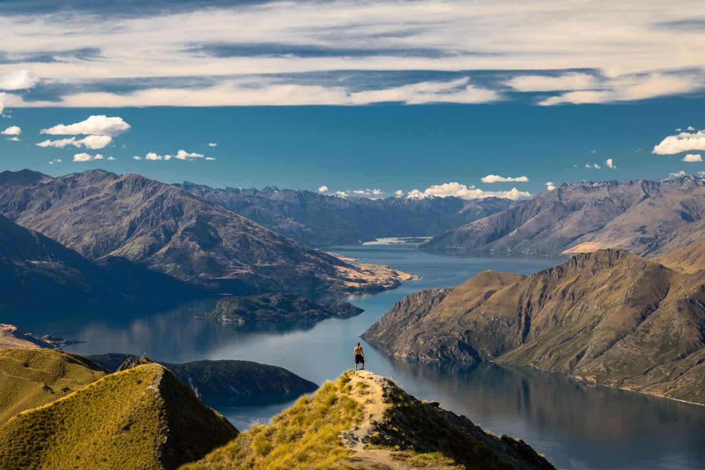 Compose your photo so the subject is centered above Lake Wanaka and appears to be on the edge of the world!