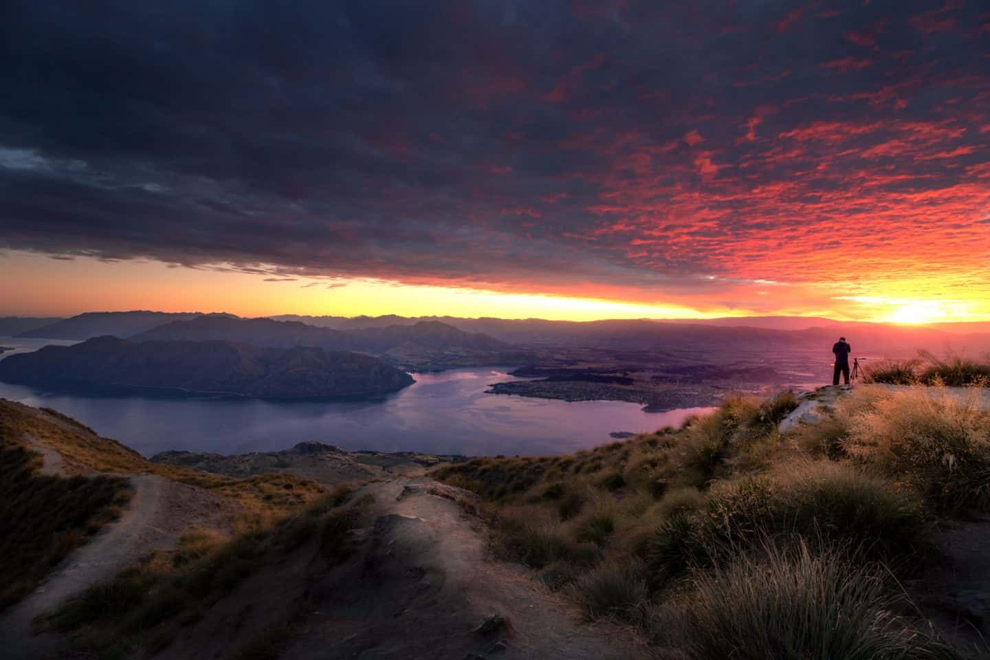 Sunrise has to be the best time of day to visit Roys Peak for those willing to hike in the dark!