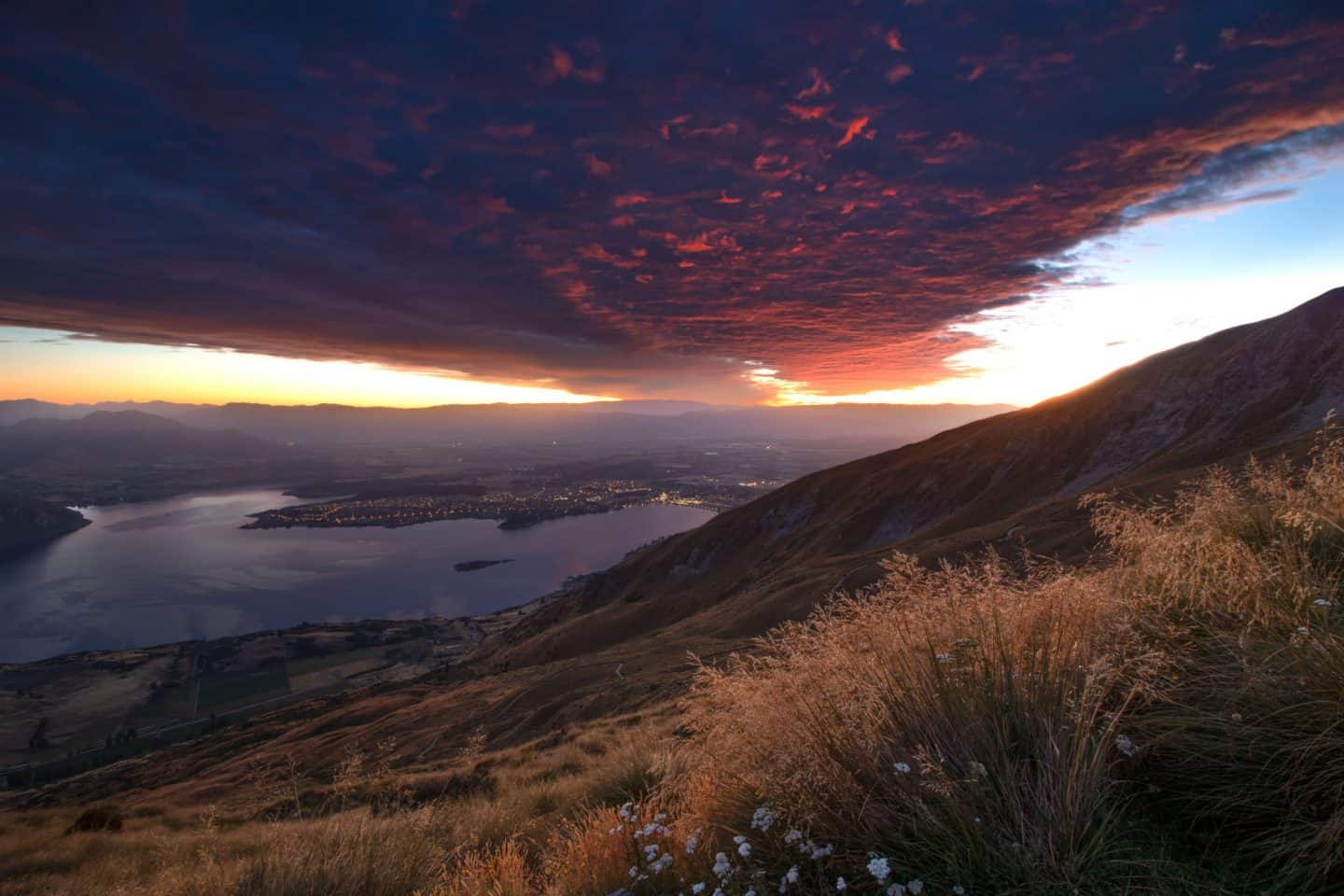 An intense sunrise on the track up to Roys Peak.
