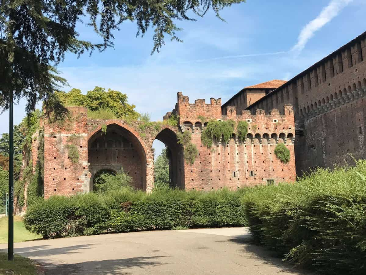 Ancient red brick wall of Castello Sforzesco (Castle Sforza) Milan Italy