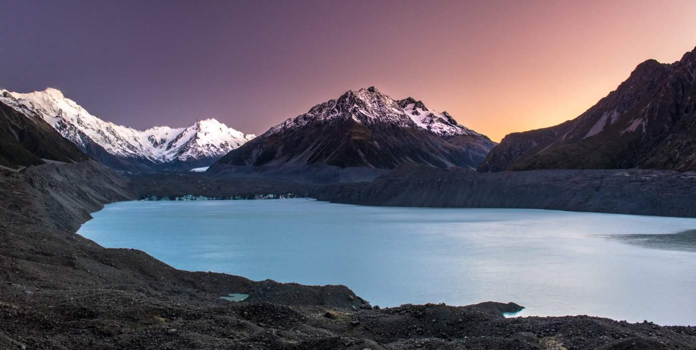 Begin Day 2 of your 7 day itinerary with sunrise at Tasman Lake.