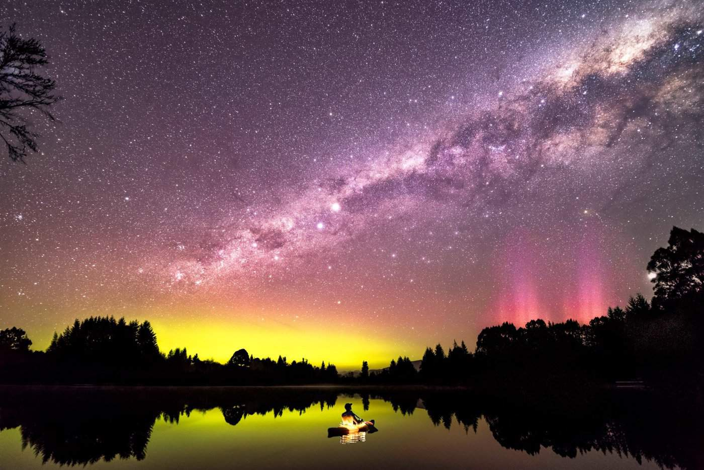 This shot from Lake Henry near Te Anau shows a Milky Way and Aurora Australis coming together on a magnificent night.