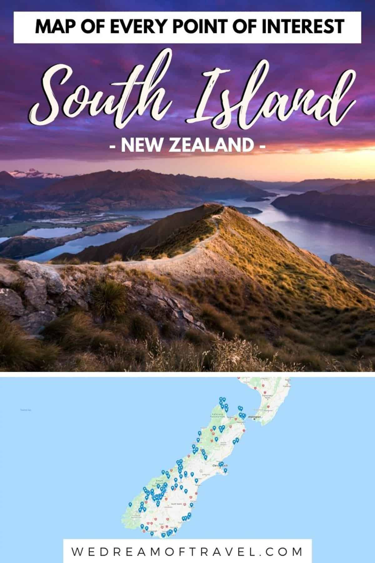 The ULTIMATE South Island New Zealand Map.  Looking for the best places to visit on the South Island, NZ?  This map has it all!  All the best points of interest to help you plan your best New Zealand travels.