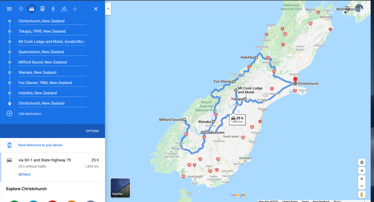 A map showing points of interest on our ultimate New Zealand South Island 7 day itinerary.