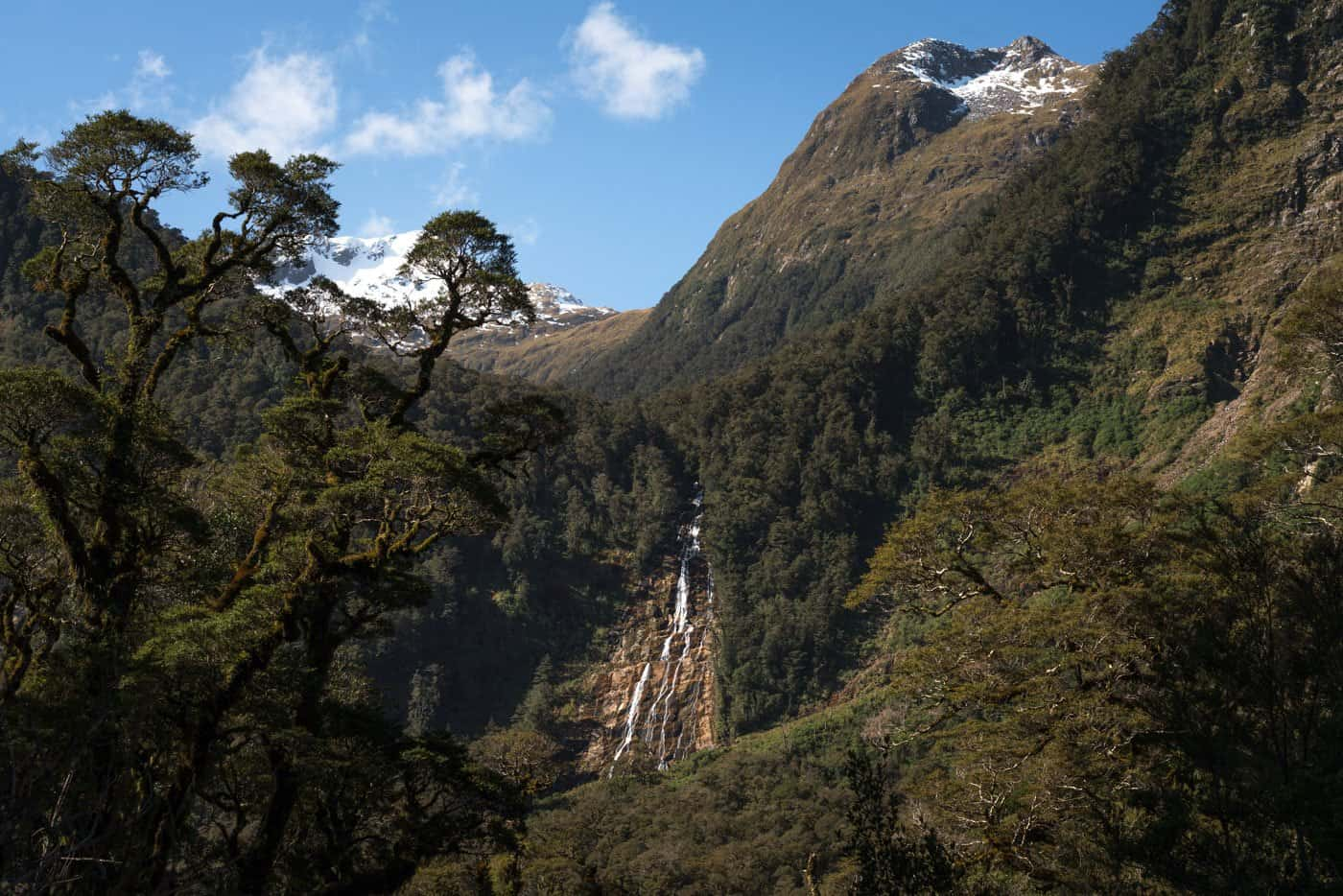 A trickling waterfall speaks to a dry week at Doubtful Sound.